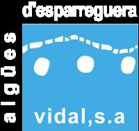 Logo aigües d'Esparreguera Vidal S.A lletres blanques